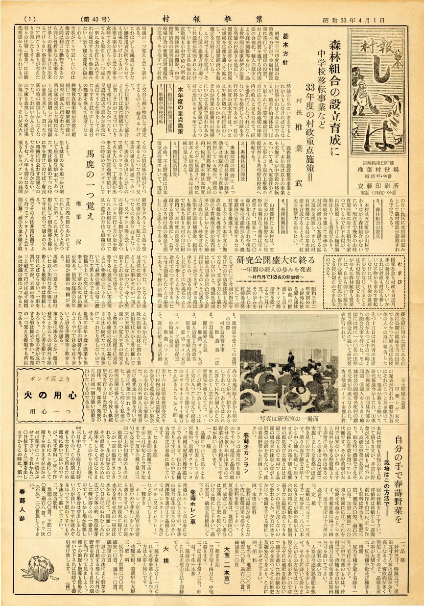 村報 しいば 第43号 1958年4月発行の表紙画像