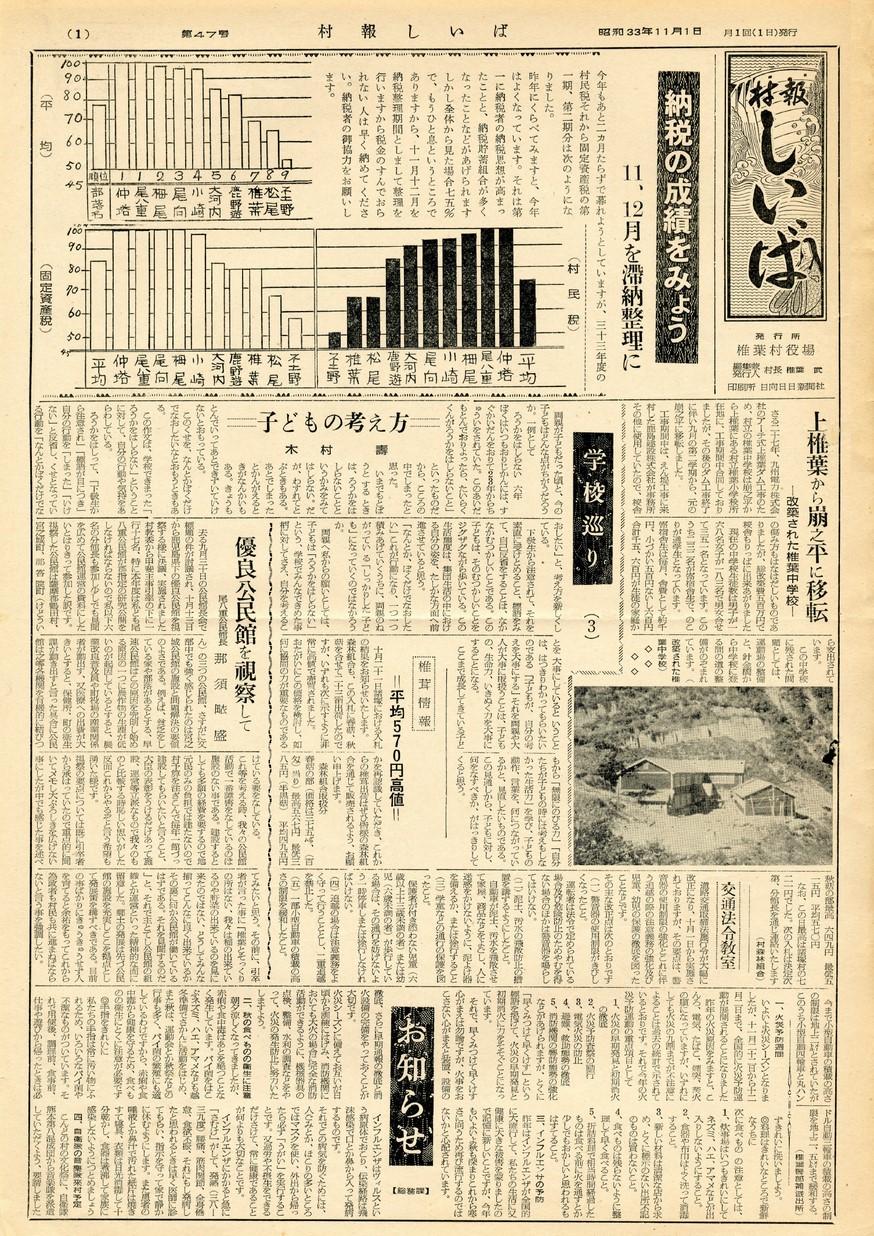 村報 しいば 第47号 1958年11月発行の表紙画像