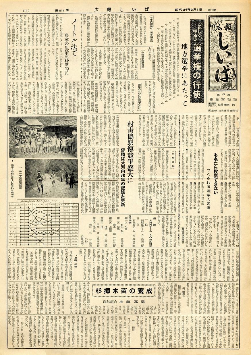 広報 しいば 第51号 1959年3月発行の表紙画像