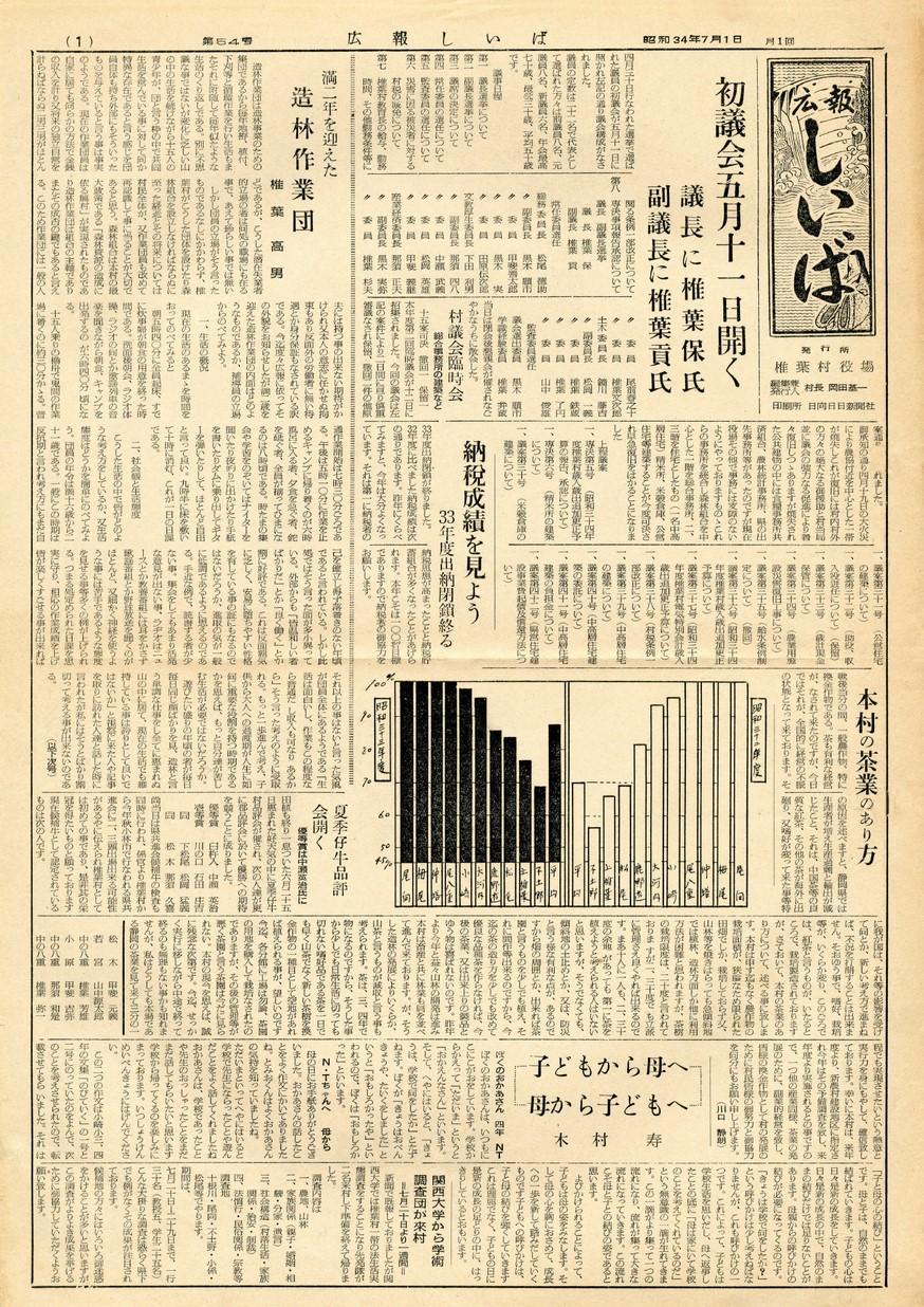 広報 しいば 第54号 1959年7月発行の表紙画像