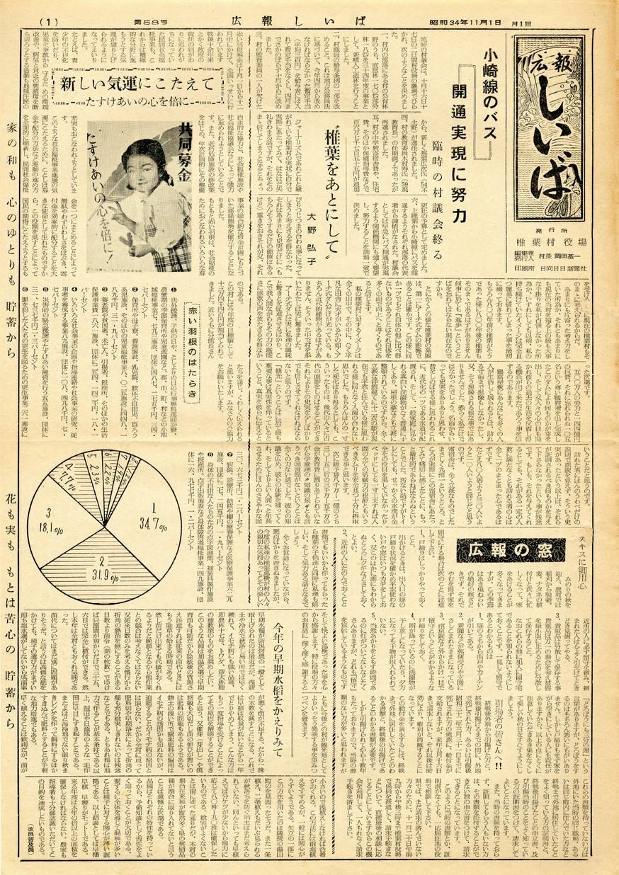 広報 しいば 第58号 1959年11月発行の表紙画像