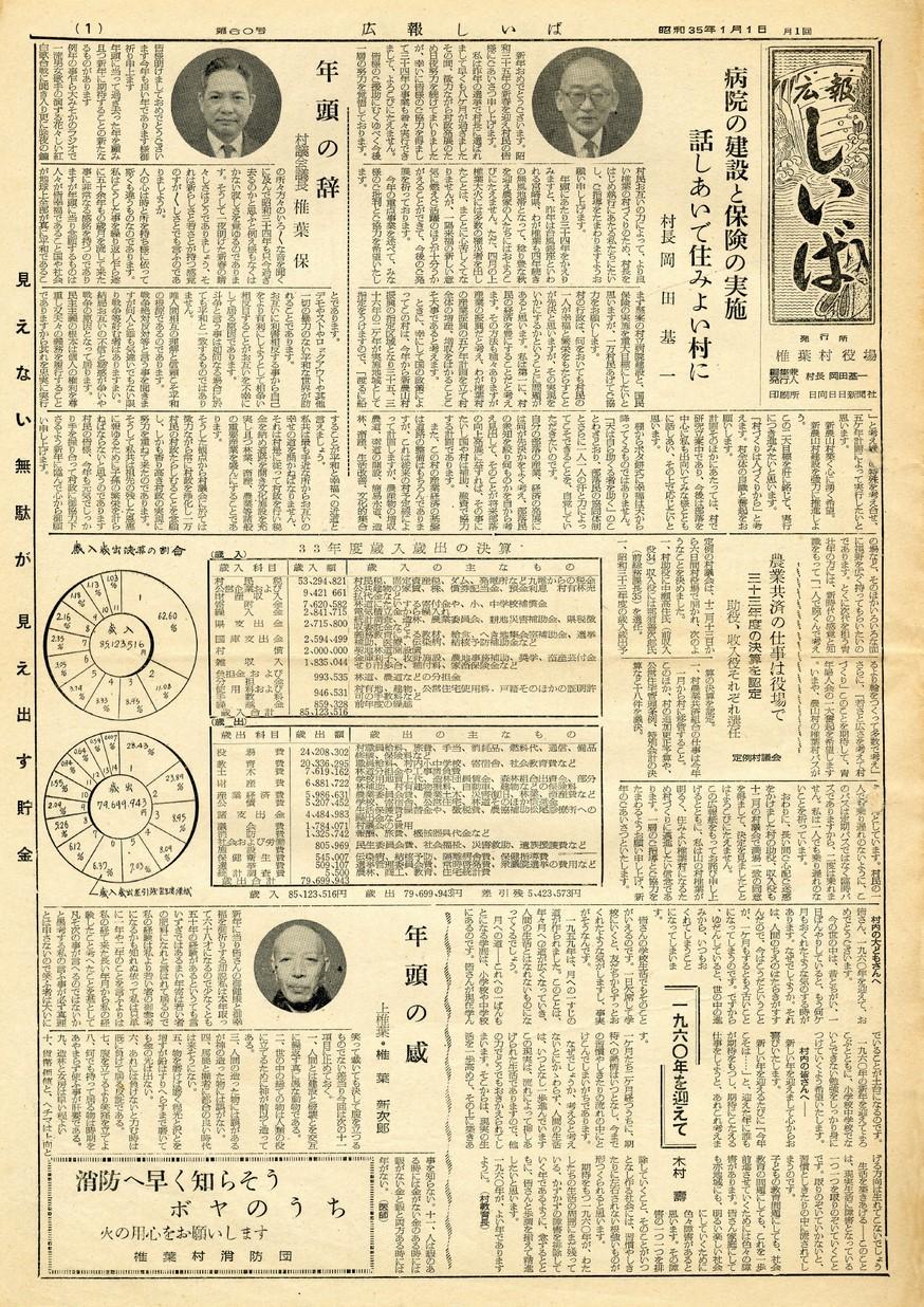 広報 しいば 第60号 1960年1月発行の表紙画像