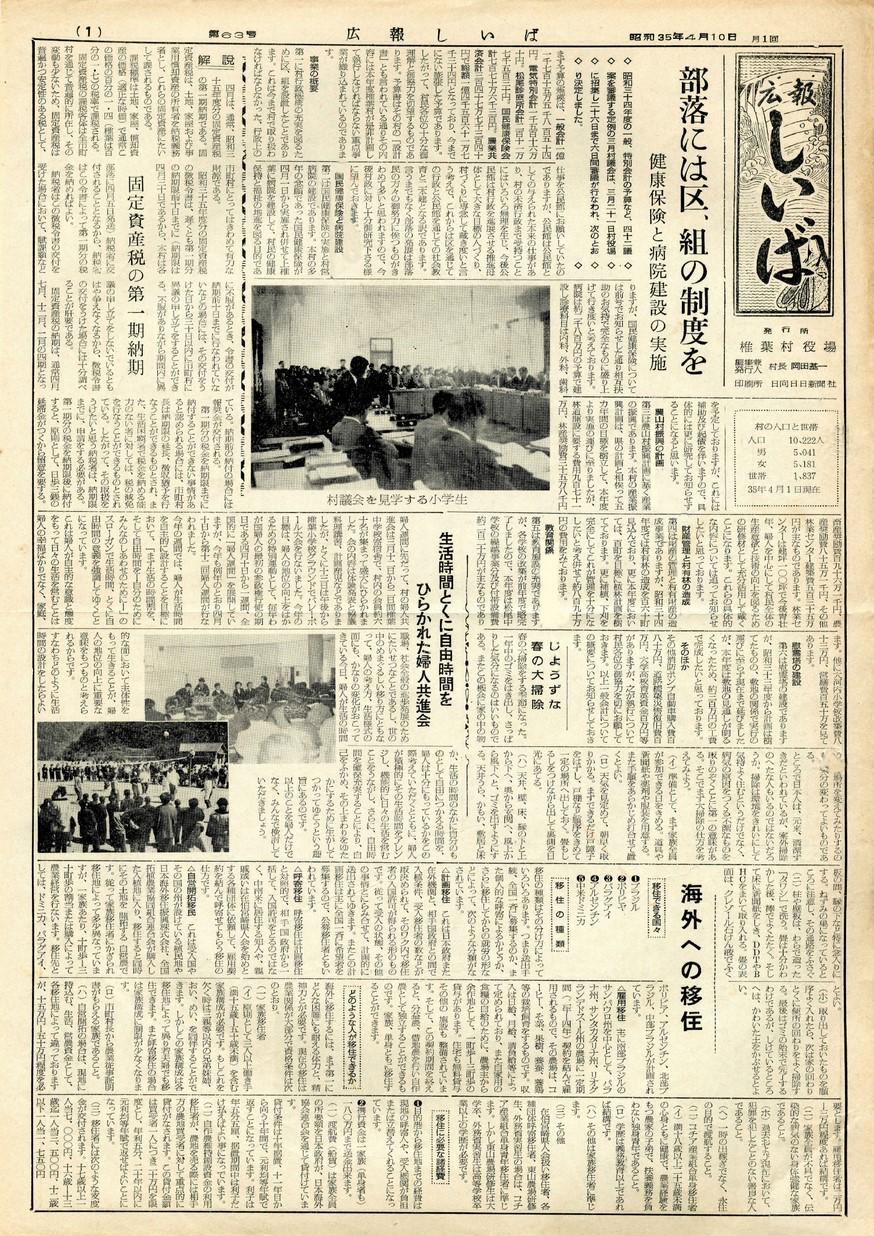 広報 しいば 第63号 1960年4月発行の表紙画像
