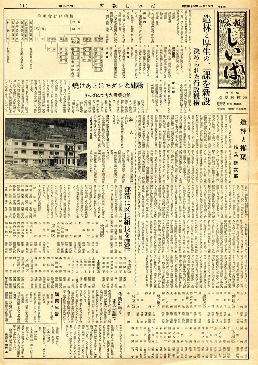広報 しいば 第65号 1960年6月発行の表紙画像