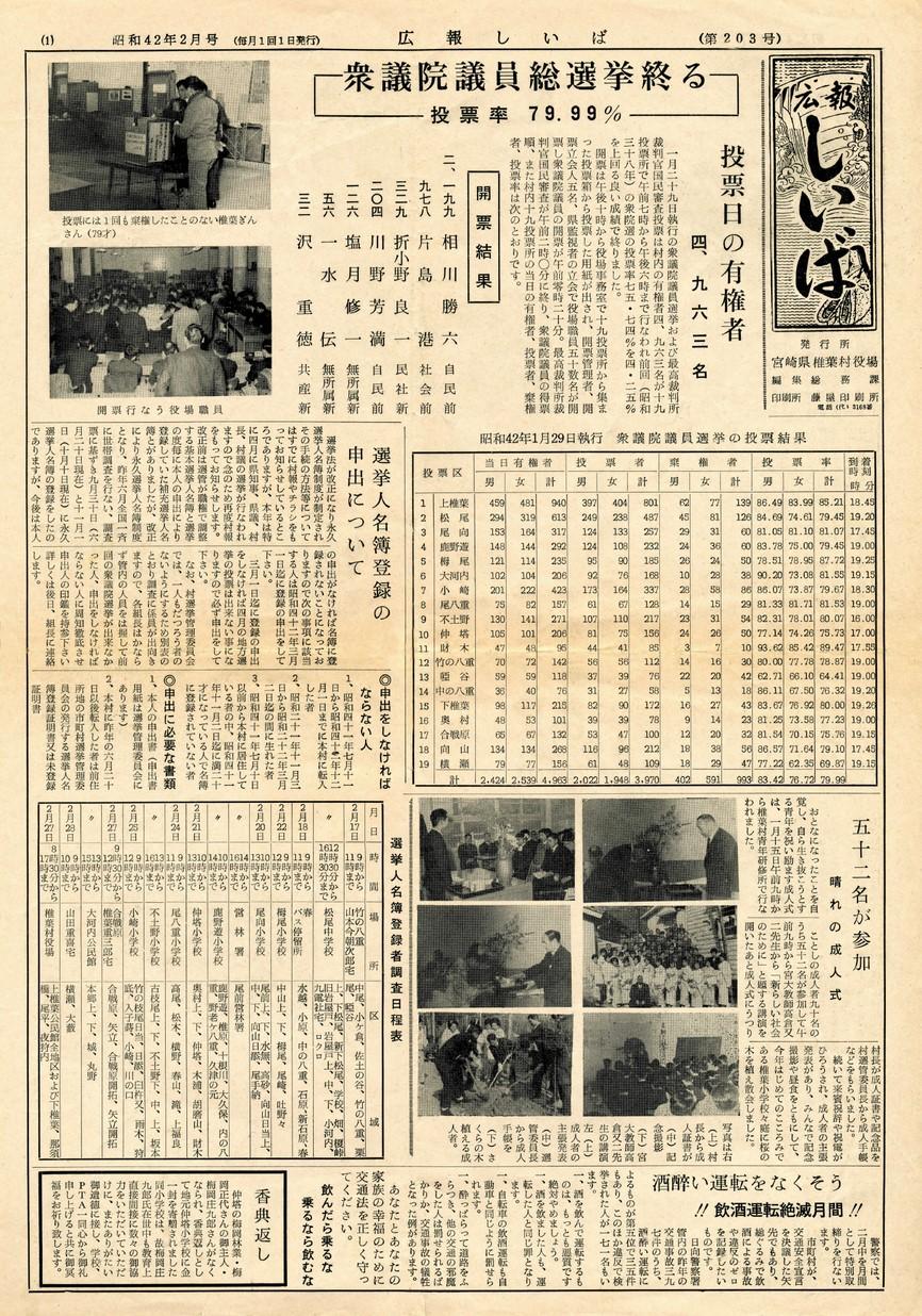 広報 しいば 第203号 1967年2月発行の表紙画像